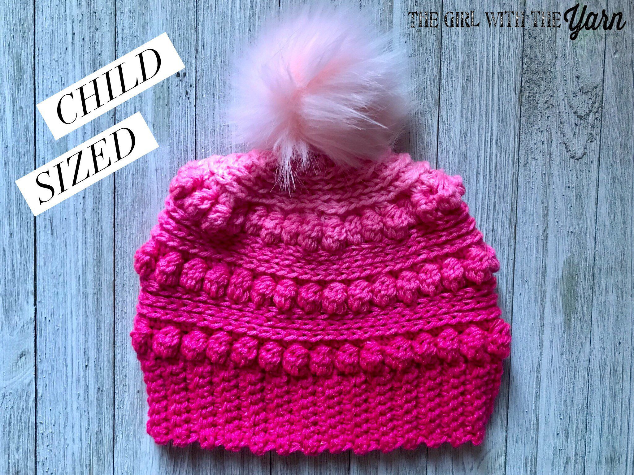 c2933e9afea Excited to share this item from my  etsy shop  Pink Ombré Bubblegum Pop Bobble  Hat with Faux Fur Pom Pom