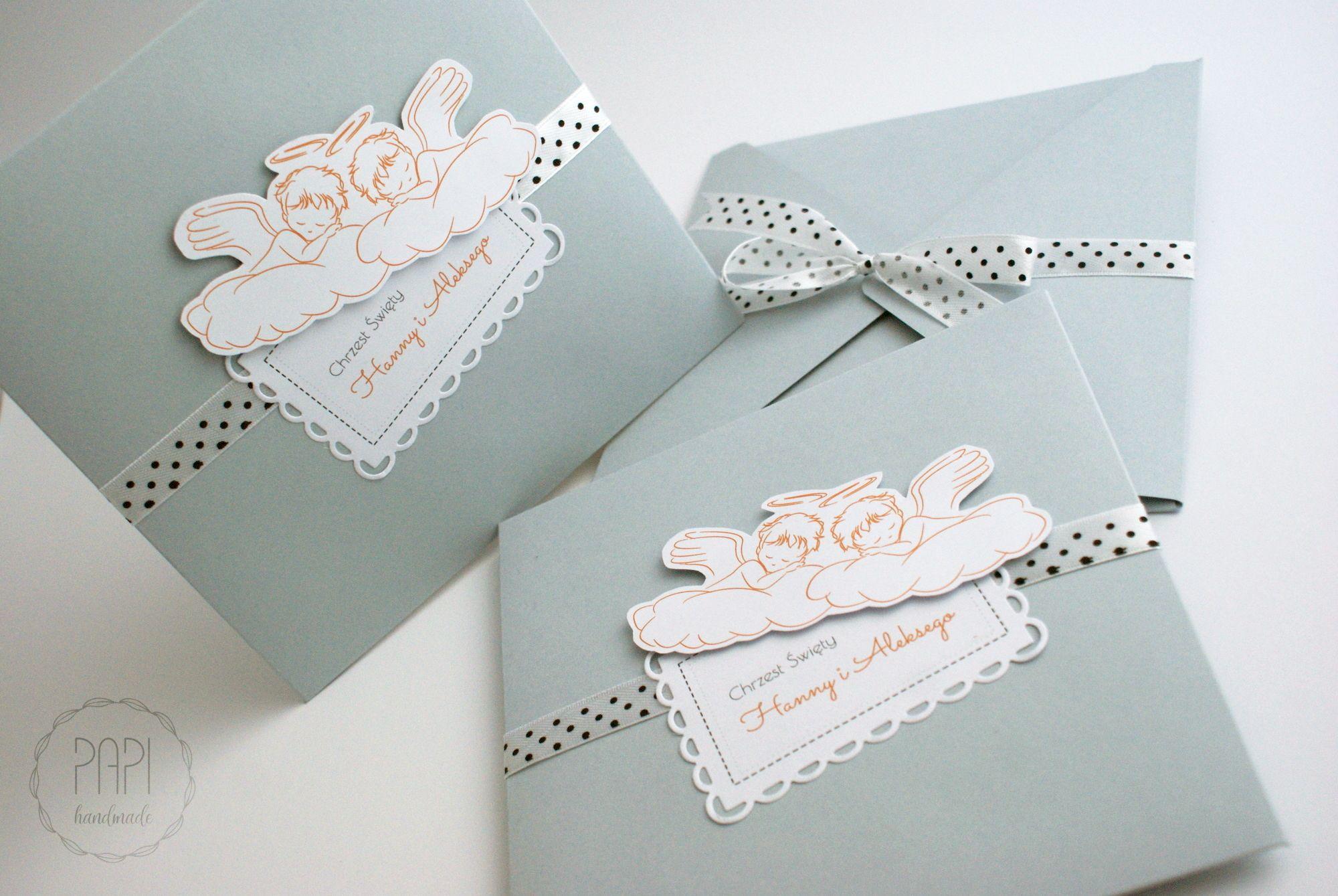 Zaproszenia Aniołki Szaro Różowe Papi Handmade Paper Quilling