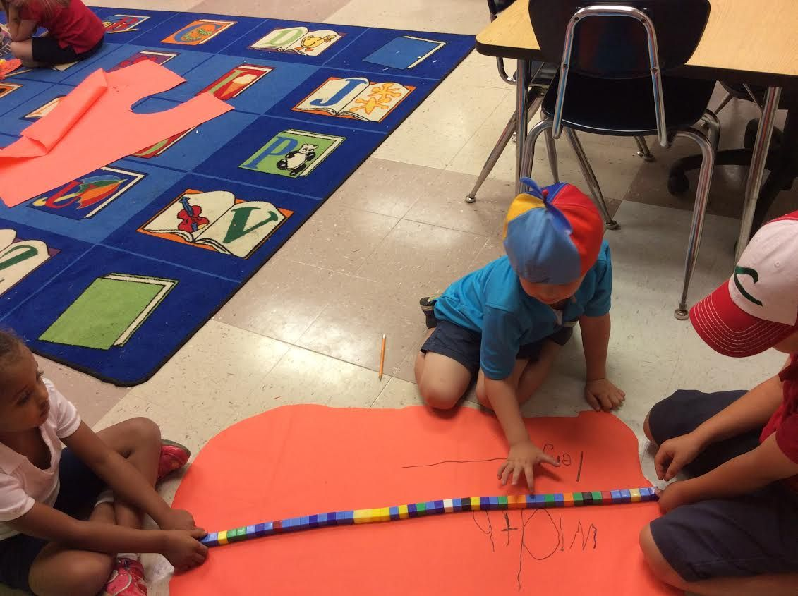 Measuring using cubes in Mrs. Kinney's class