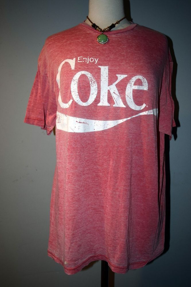 Coca Cola Red Vintage ENJOY COKE t-shirt top tee XL X-large stretch RETRO Pink #CocaCola #GraphicTee