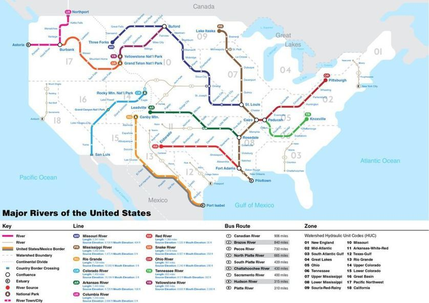 Check out this subway-inspired map of America\'s rivers | I ...