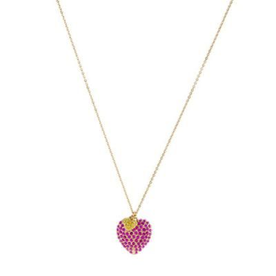 Girls\' pav\u00E9 double heart necklace