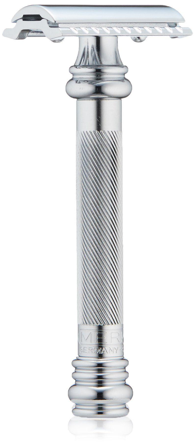 Merkur Heavy Duty Long Barber Pole Safety Razor Chrome