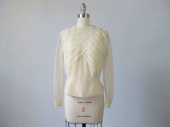 1940s Sheer Nylon Soft White Blouse