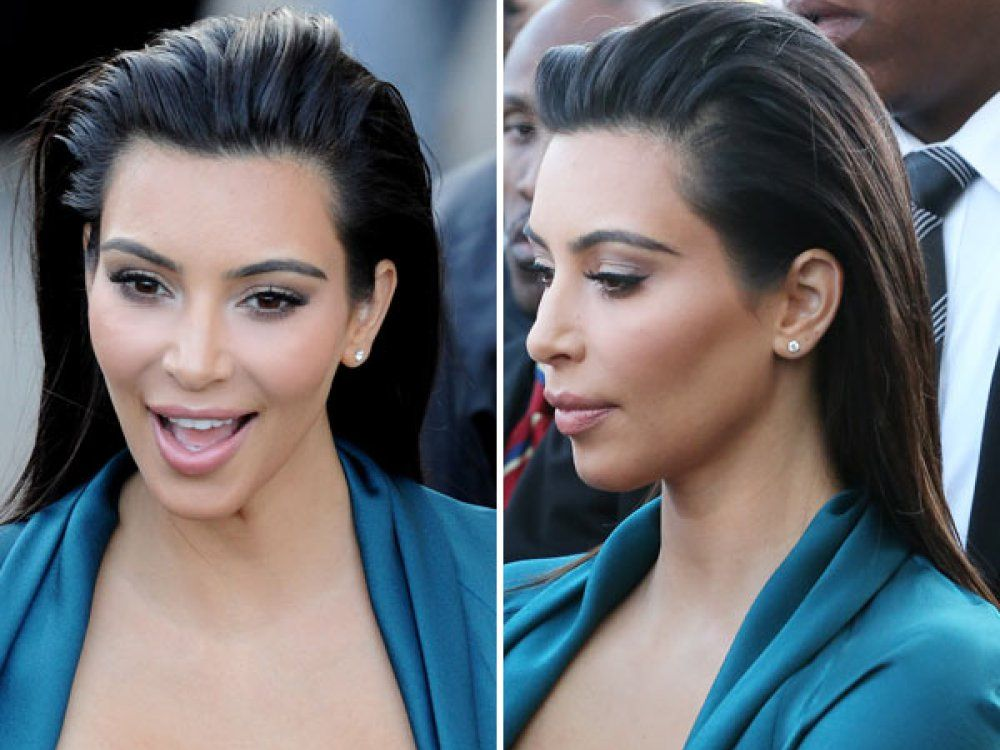 Image result for slick back hair kim kardashian