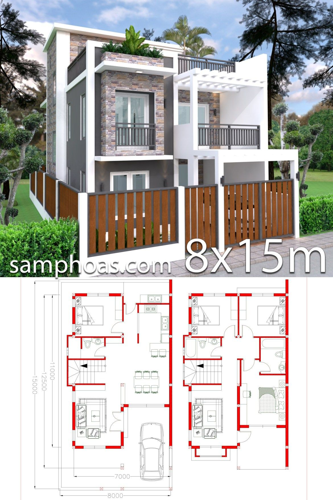 Home Design Plan 7x11m Plot 8x15 With 4 Bedrooms Samphoas Plansearch House Construction Plan House Layout Plans Architectural House Plans