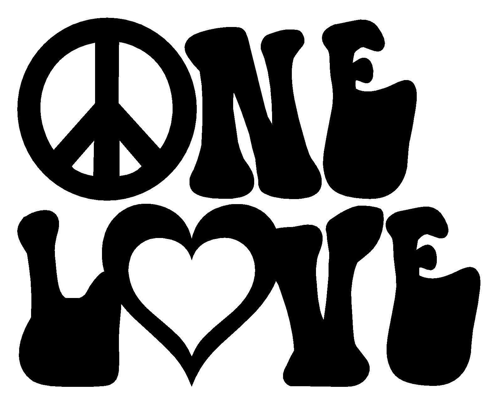 One Love Vinyl Decal Sticker Car Window Wall Bumper Peace Symbol