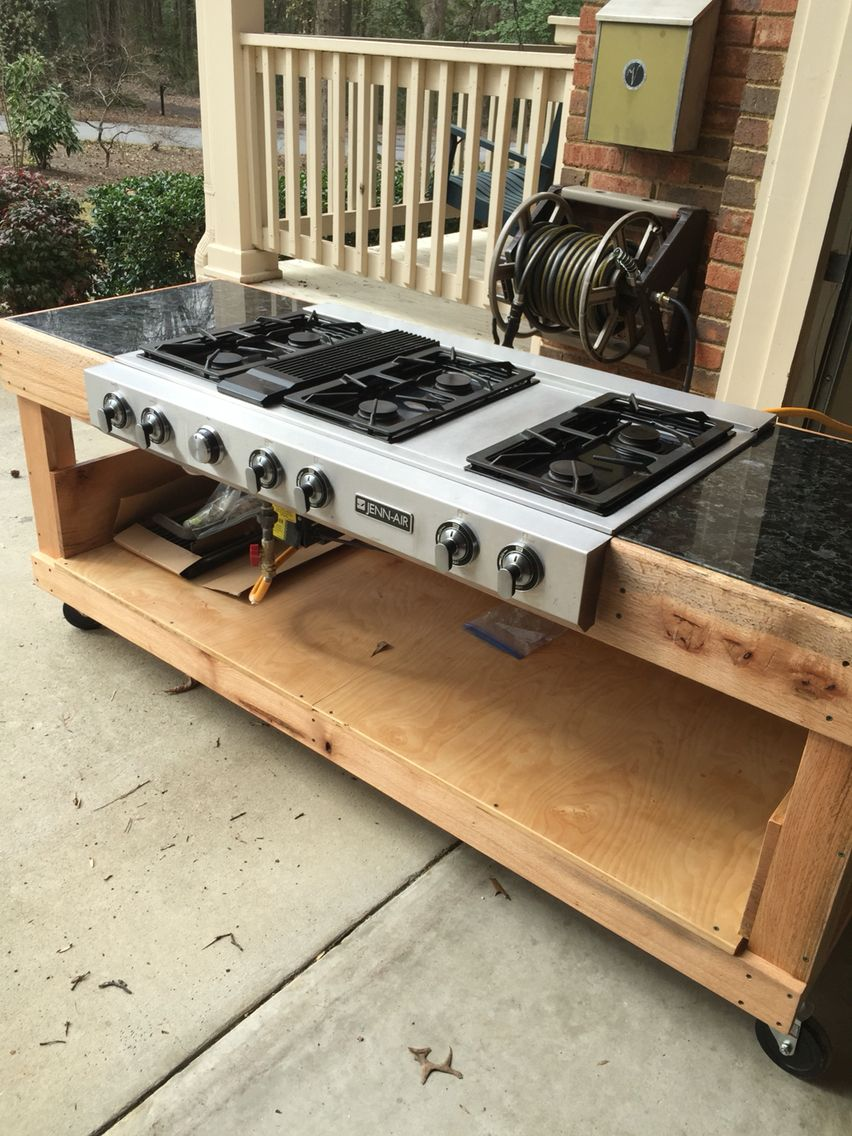 OUTDOOR COOKER I Built An Outdoor Cooker So That I Can Use My Canners  Without Heating My Kitchen. I Got This 6 Burner JennAir Stove Top From The  ReStore And ...