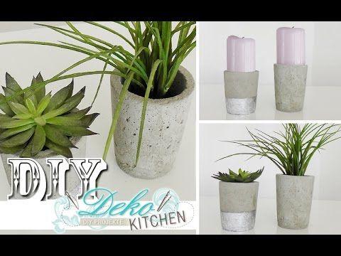 DIY Blumenübertöpfe aus Beton selber machen Deko Kitchen - gartendeko aus beton selbstgemacht
