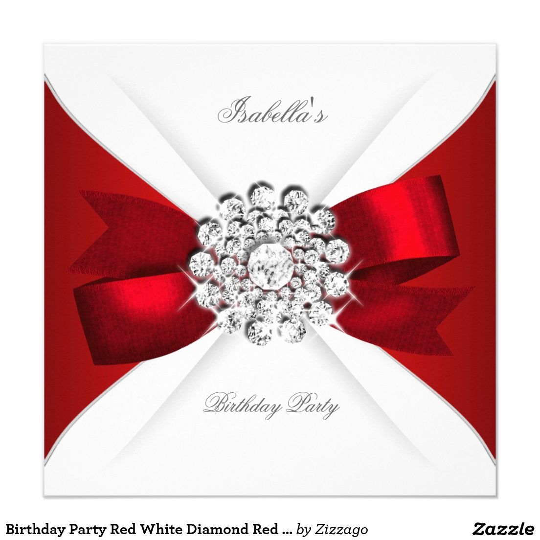 Birthday Party Red White Diamond Red Bow Invitation | Invitation ...