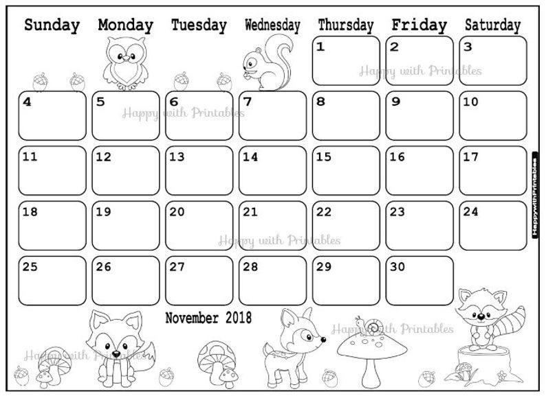 Calendar November 2019 - November Planner Printable - Cute ...