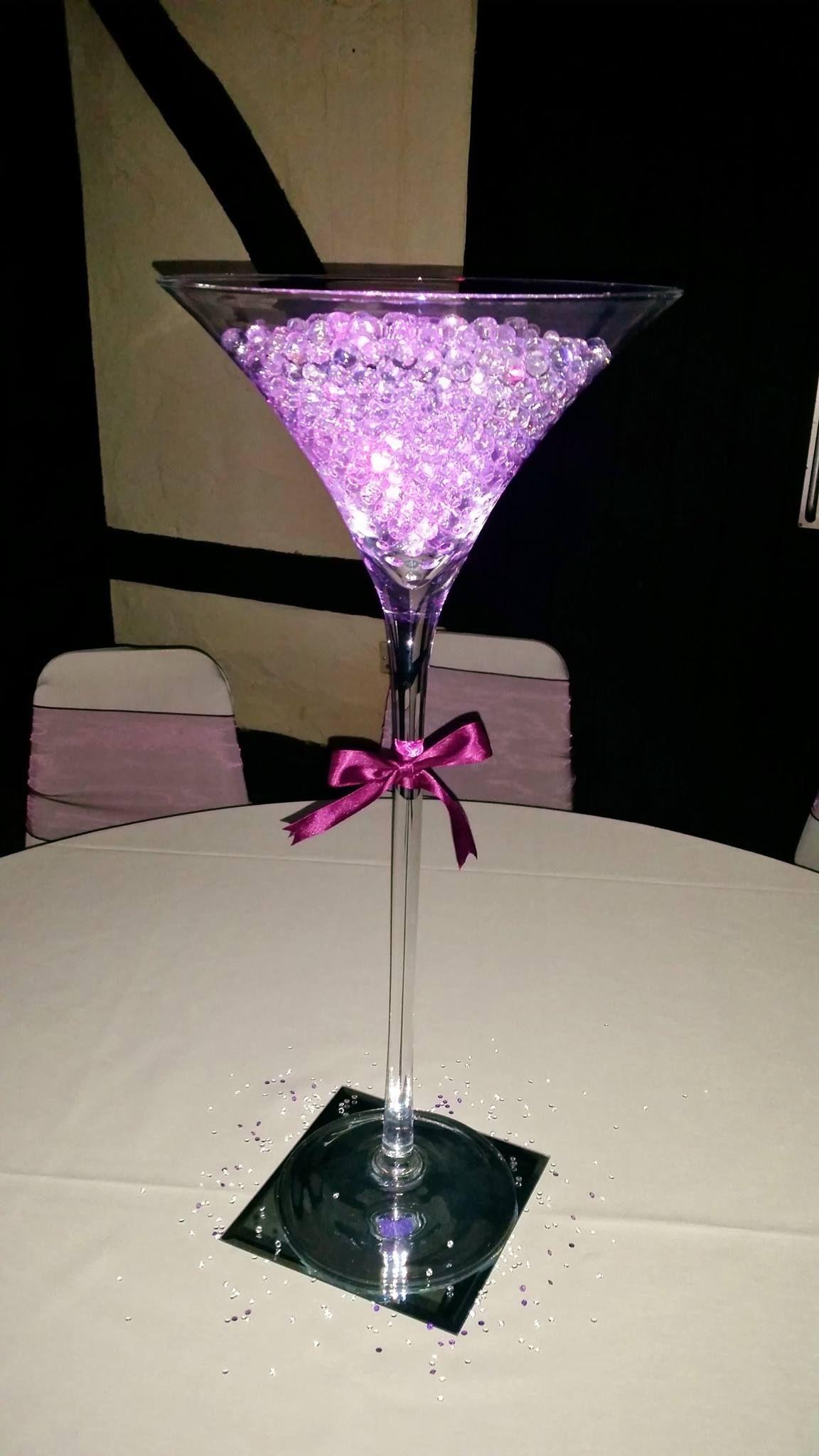 Sororio Events - Large Martini Glass - Centre Piece - Dark Purple - Wedding - www.sororioevents.co.uk