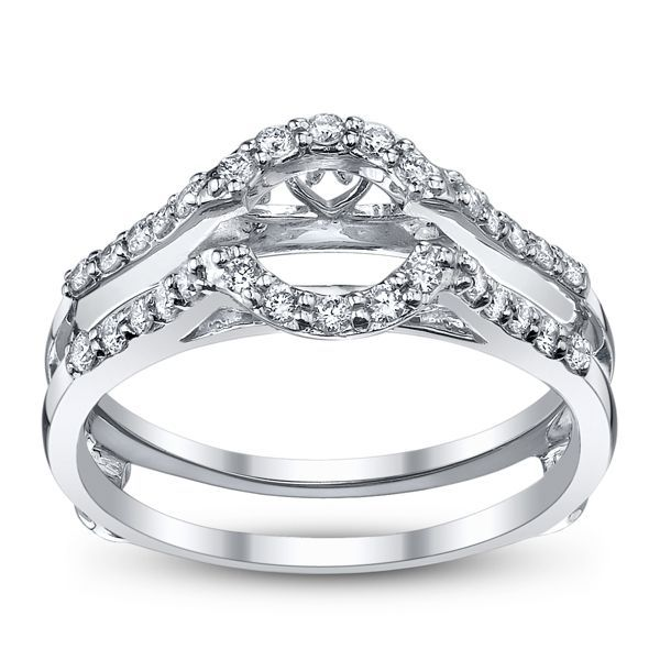 14K White Gold Diamond Ring Guard 1/4 Carat Total Weight