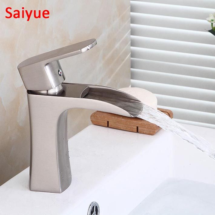 Hot And Cold Nickel Brushed Chrome Waterfall Bathroom Basin Sink Vessel Faucet Lavatory Mixer Tap Open