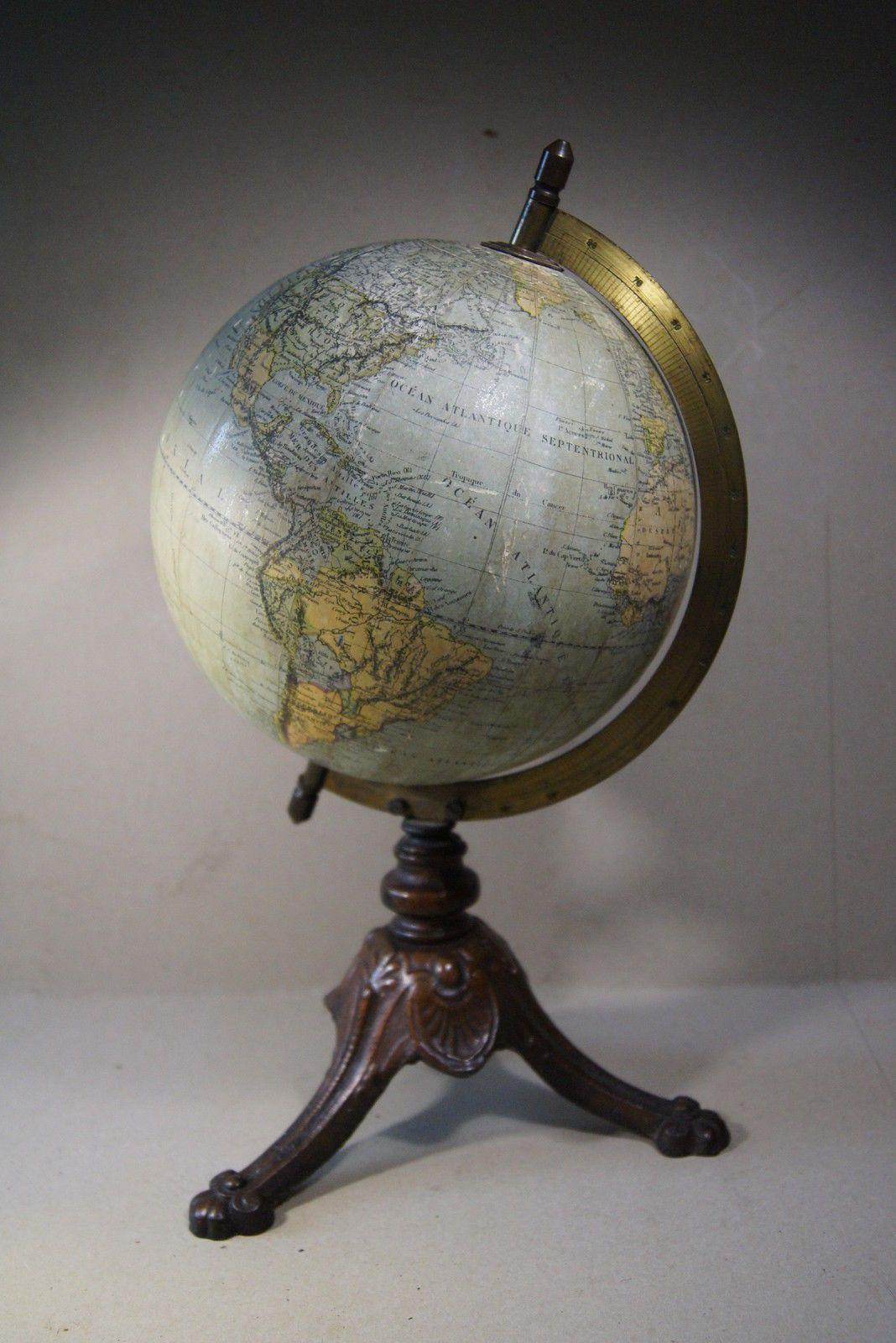 schwerer antiker globus frankreich um 1910 ebay think global pinterest. Black Bedroom Furniture Sets. Home Design Ideas