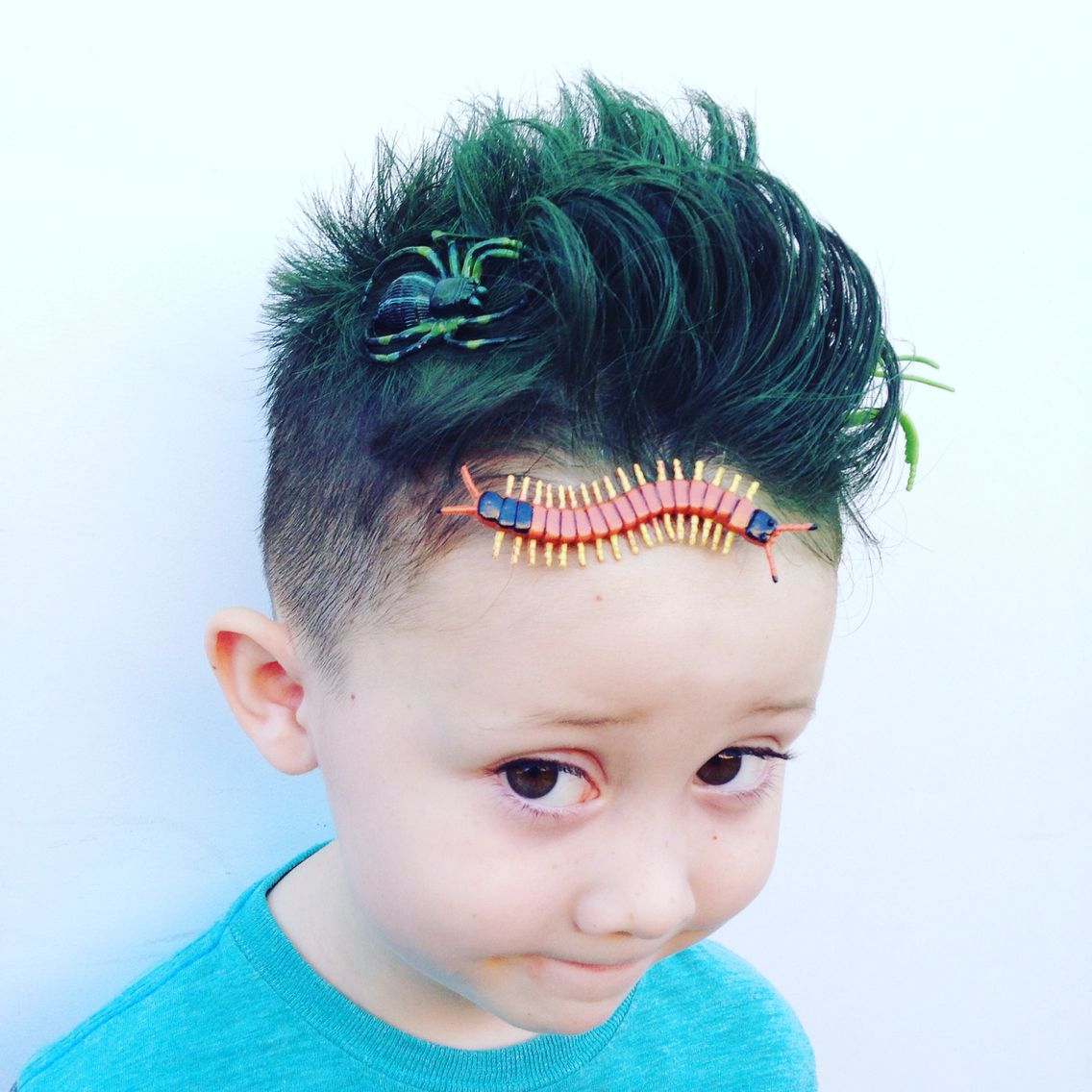 boy crazy hair day style. bugs and grass green hair! | crazy