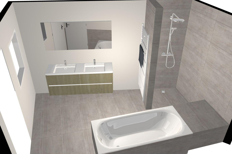 Deze badkamer met schuine muur werd handig ingericht met een bad ...