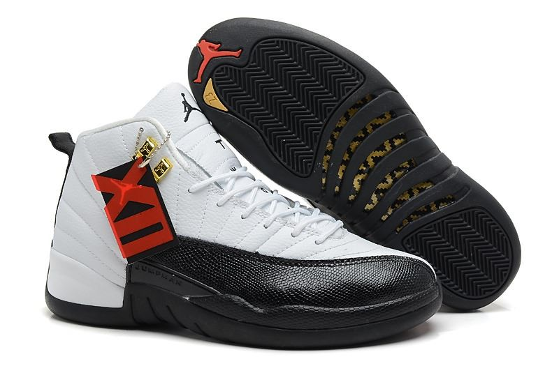 Nike Air Jordan 12 White Black AJ12 Retro Athletics J12 Mens Basketball  Shoes