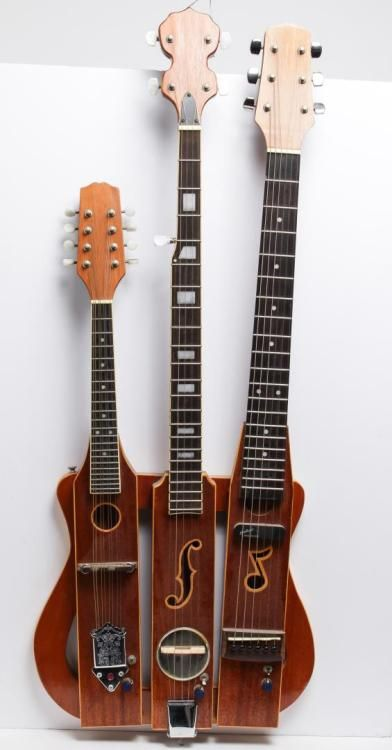 Mandolin Banjo Guitar Triple Neck Chordophone In The Cigar Box Style Https Www Pinterest Com Lar Cool Electric Guitars Guitar Design Bass Guitar Chords