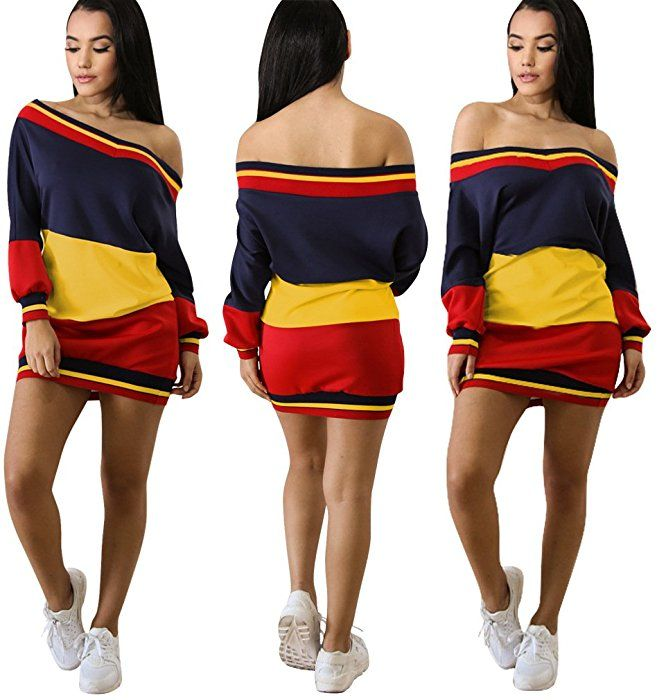 e19a4ac3a1cf Felicity Young Women s Casual Long Sleeve Off Shoulder Colorblock Pullover  Sweatshirt Dress Loose Tunic T Shirt Blouse Tops Yellow