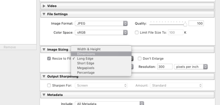 Lightroom export settings for facebook