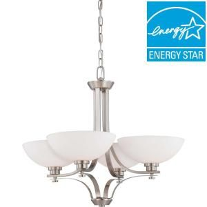 Illumine 4 Light Brushed Nickel Chandelier With Frosted Glass Shade