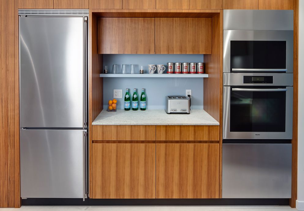 Kitchen Liebherr fridge and Miele wall oven.  Beauparlant Design