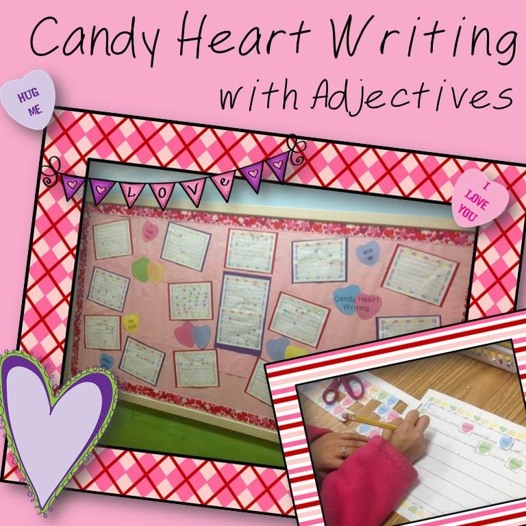 candy heart valentine 39 s day writing focusing on adjectives valentine. Black Bedroom Furniture Sets. Home Design Ideas