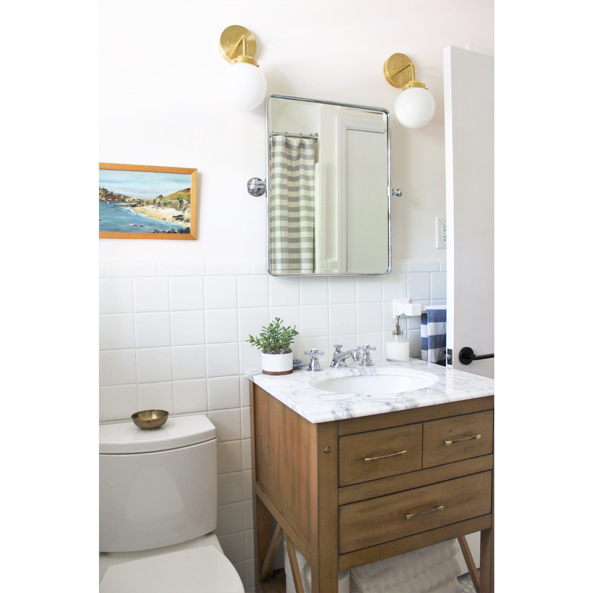 Eclectic mid-century bathroom renovation remodel decor design with ...
