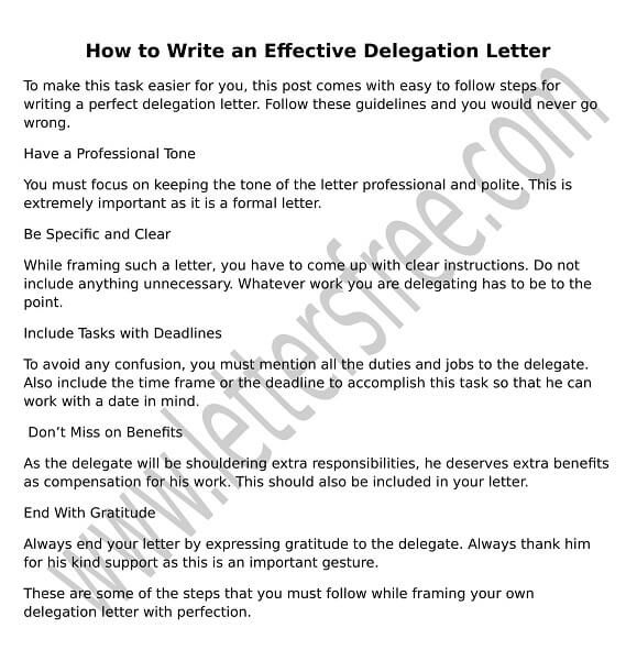 Write A Formal Letter To Delegate Responsibility To A CoWorker Or