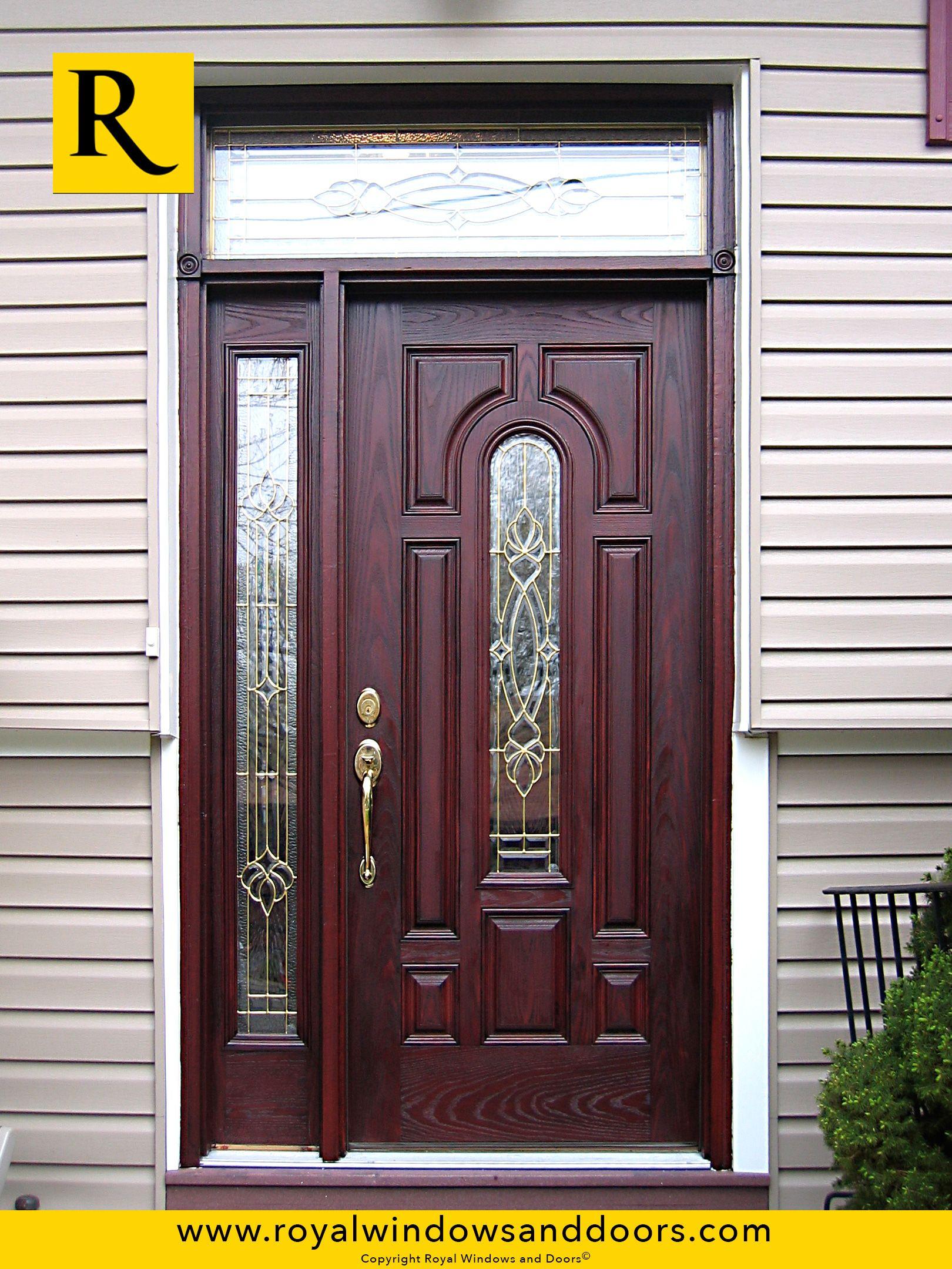 single entry door wood finish one side lite transom designer glass