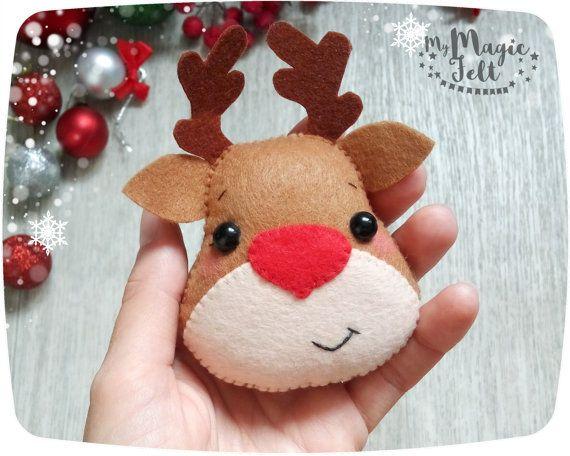Adornos navideños fieltro adornos fieltro Navidad de Rudolph Reindeer ornamentos de los adornos de árbol de ornamento de Reno de nariz roja