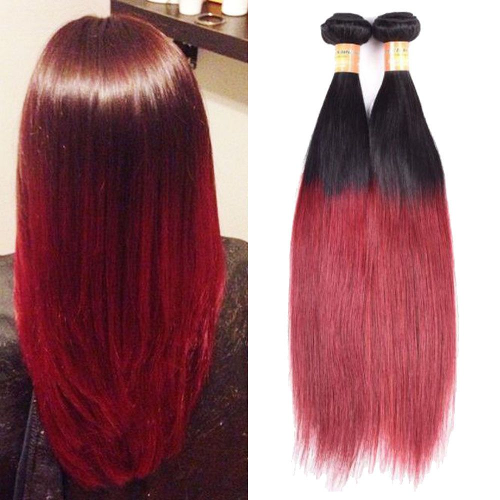 High Quality 300g 1B/Burg Human Hair Extension Ombre Silky