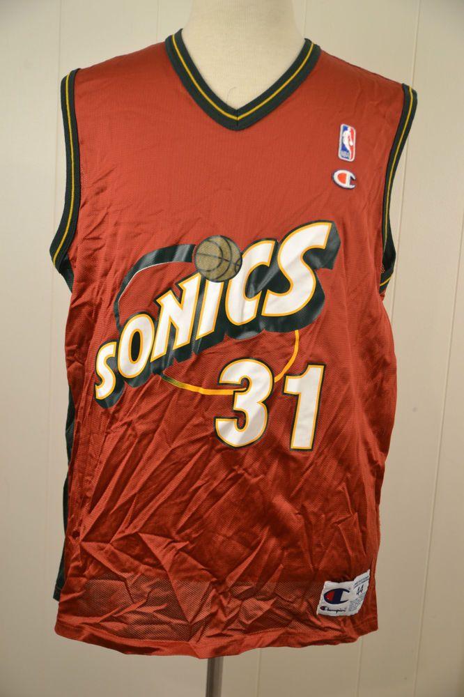 Vintage Champion Seattle Supersonics Jersey Brent Barry NBA Jersey Red  Large 44  Champion  SeattleSupersonics 24167f03b