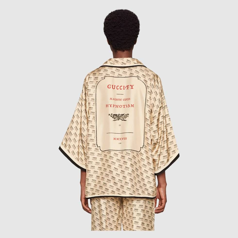 a6d9acadec9b Shop the Gucci stamp silk shirt by Gucci. The Spring Summer 2018 fashion  show invite was composed of a metal box decorated with illustrations  inspired by ...