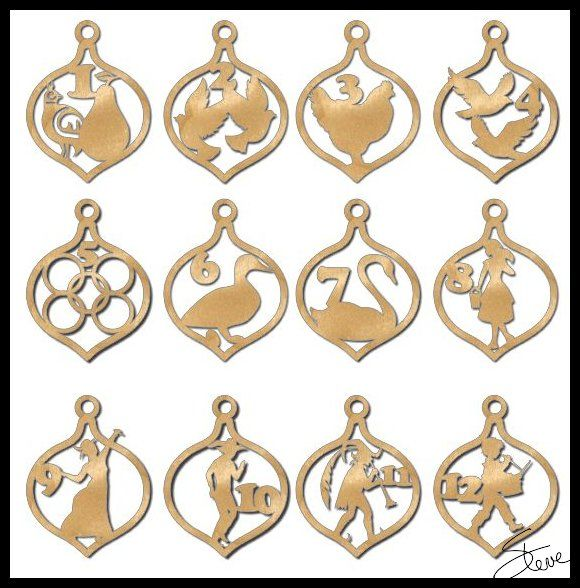 Scroll Saw Patterns Christmas Ornaments. This book has the 12 days of Christmas  Ornaments. 1 partridge in a pear tree, 2 turtle doves, 3 French hens, ... - 12 Days Of Christmas Ornaments, Scroll Saw Patterns. Christmas