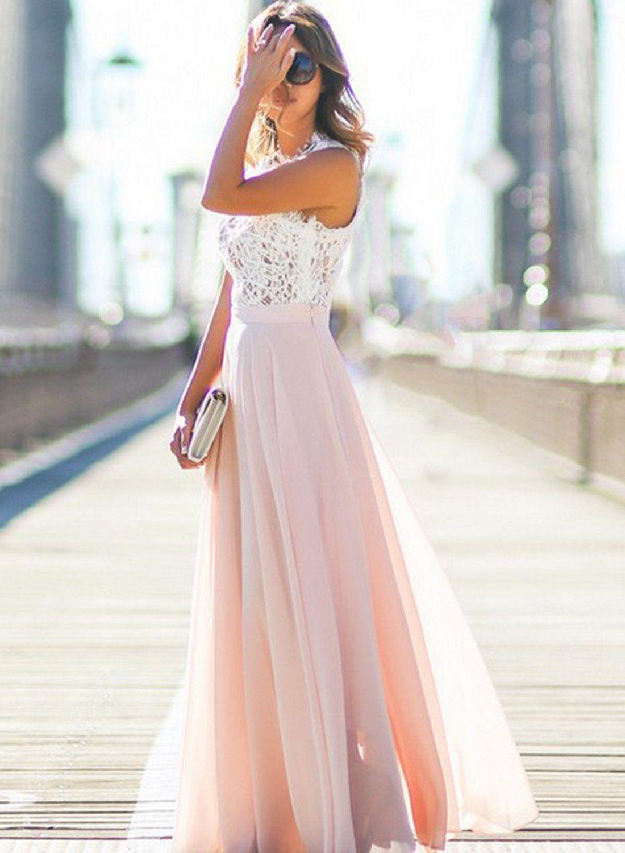 2866a578cd8 Pink Sleeveless Lace Chiffon Maxi Dress