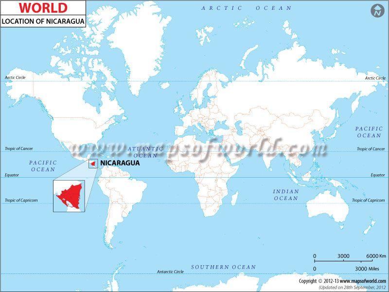 Nicaragua location in the world. Language spoken: Spanish www ...