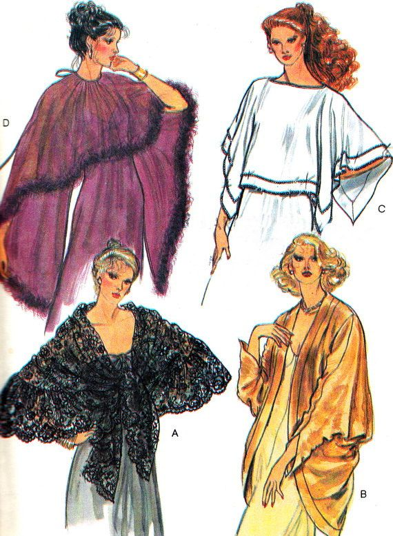 1980s Evening Cover Ups Pattern Vogue 7233 Shawls by paneenjerez ...