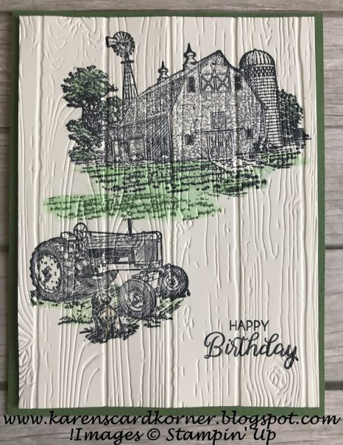 Stampin Up! Heartland Birthday Card for Amy's Inkin' Krew Blog Hop #stampinup!cards