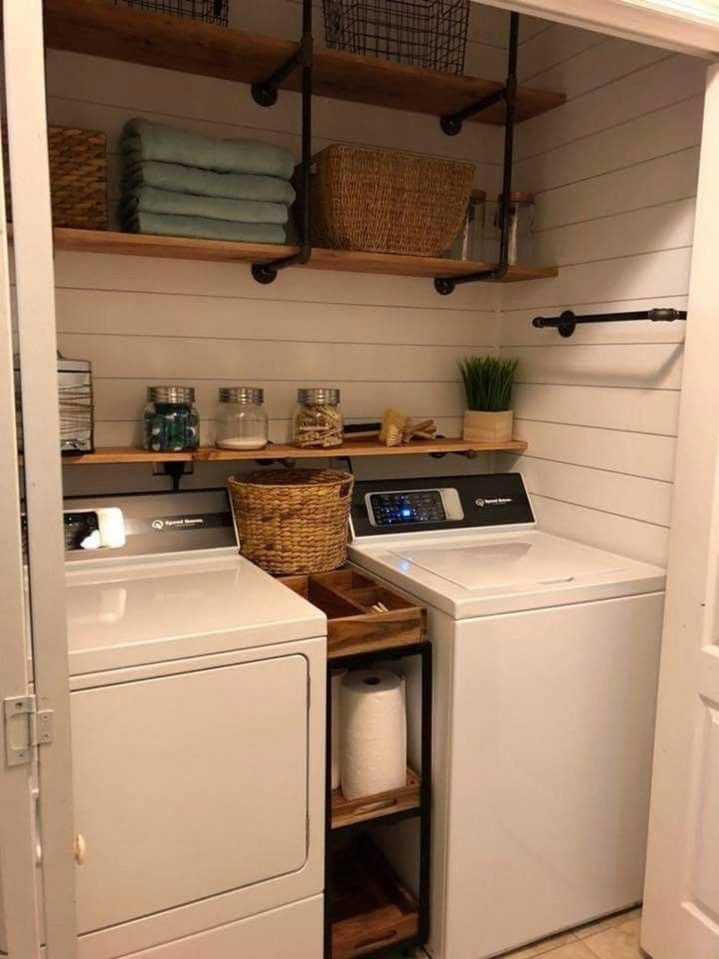 Shiplap Idea For Behind Washer And Dryer With More Industrial Shelving Above Great For Incorpora Laundry Room Remodel Small Laundry Rooms Laundry Room Decor