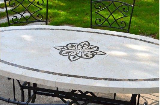 Ellipse Table Mosaique De Jardin En Pierre Naturelle Motif