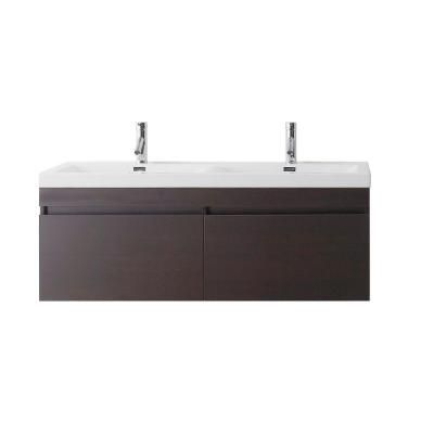 Virtu USA Zuri 54-11/16 in Double Basin Vanity in Wenge with Poly