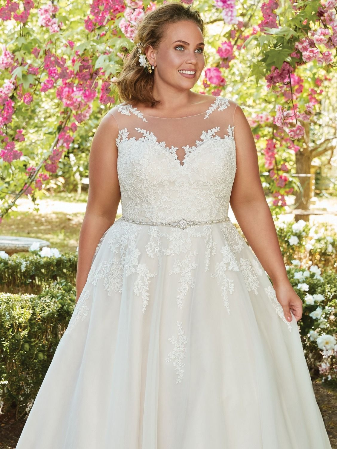 5e8550eab4 Plus Size Wedding Dresses by Maggie Sottero -Rebecca Ingram. OLIVIA -  Rebecca Ingram. A lace bodice and illusion bateau neckline add romance and  enchantment ...