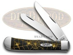 CASE XX Woodland Spiders Black Mica Pearl Trapper 500 made Pocket Knife