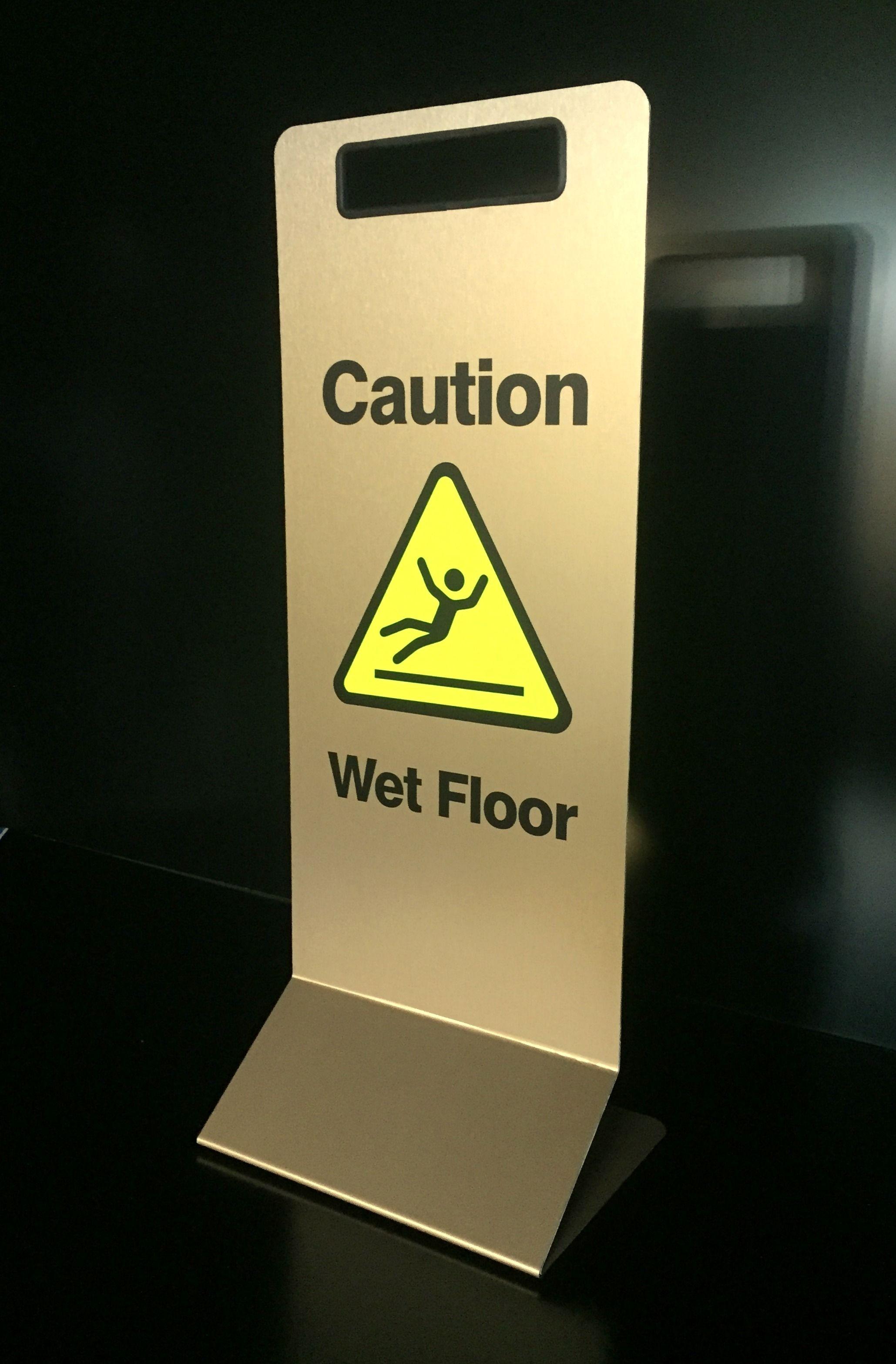 Brass Effect Wet Floor Sign Wet Floor Signs Wet Floor Floor Signage