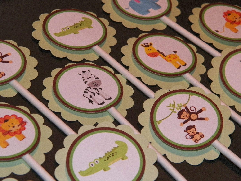 12 Jungle Animals Cupcake Picks. $5.00, via Etsy.