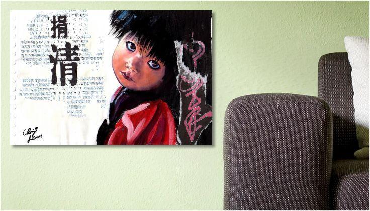 Tableau Peinture dessin Enfant du Tibet une toile de Chris Laure
