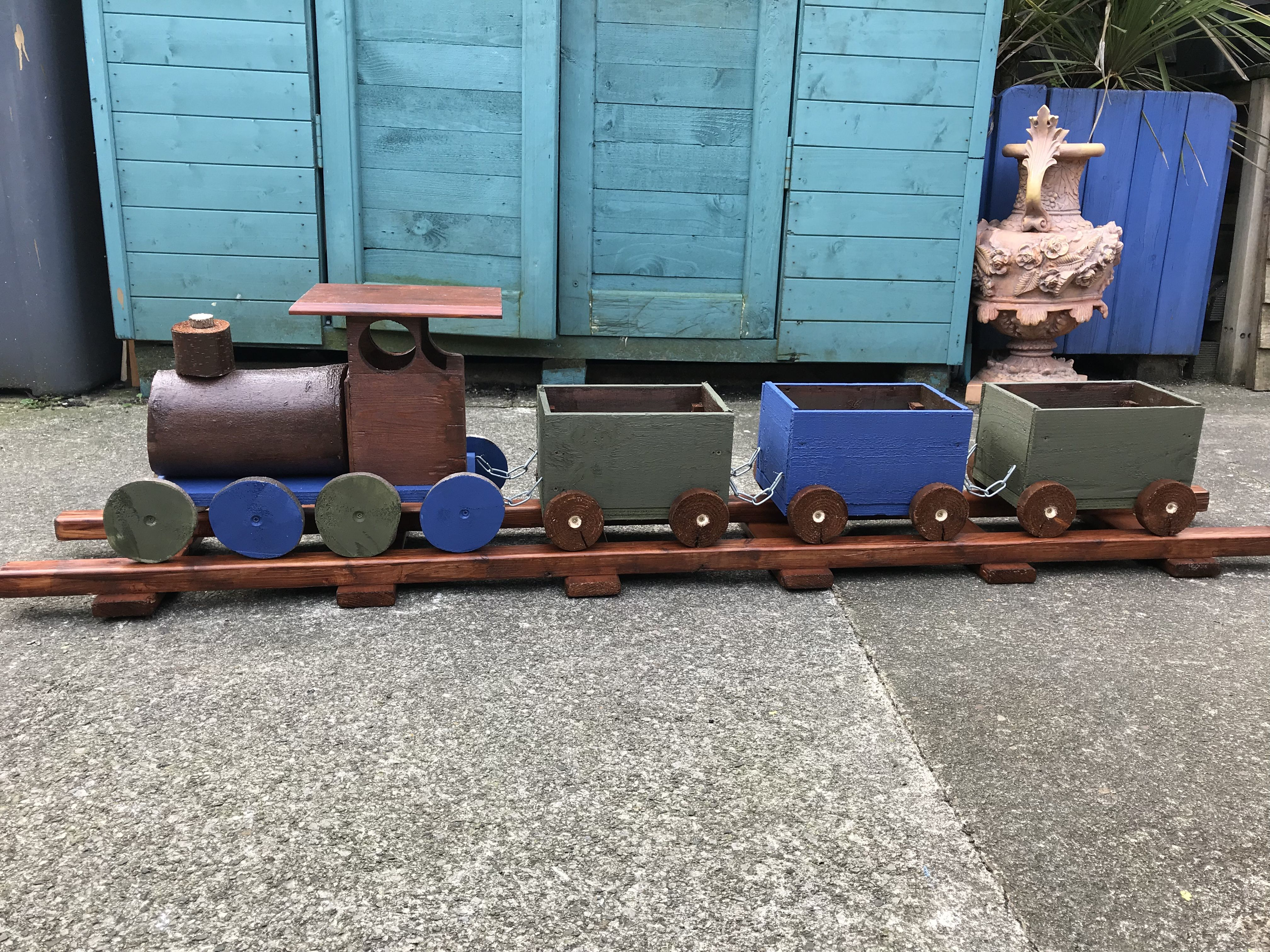 Pin By Jan Jacobson On Train Planters Wooden Train Planters Train
