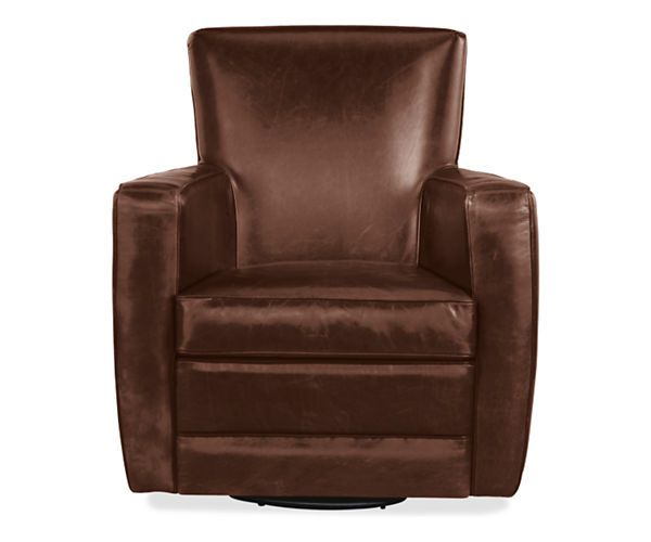 Living Room Chairs For Sale: Elliot Leather Swivel Chair & Ottoman
